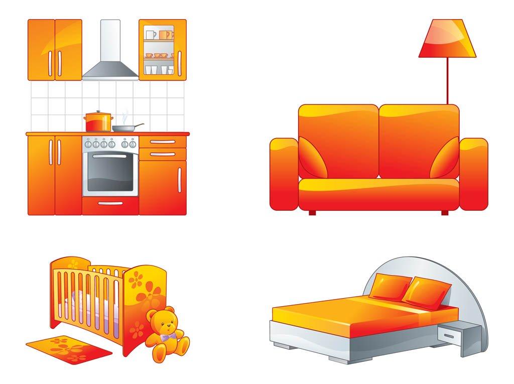 цветные картинки мебели показывают фото